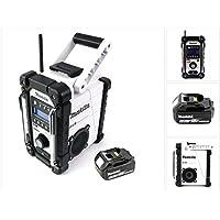 Makita DMR 104 W Akku Baustellen Radio Weiß + 1x BL 1850 18V - 5Ah Akku - ohne Ladegerät