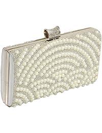 24X7 Emall Women's Clutch (Pearl Diamond Silver,Premium Pearl Diamond Silver Two Sided)
