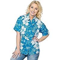 donne beachwear camicetta camicia hawaiana maniche corte pulsante blu gi� il collare signore superiori