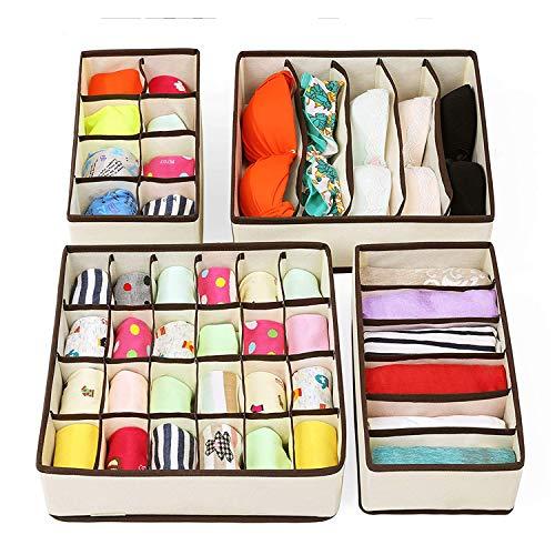 Stvin Fabric Foldable Closet Undergarment Organizer Storage Boxes (Set of 4)