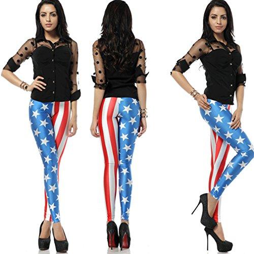 Thenice - Legging - Slim - Femme Taille unique (petite taille) amerikanische Flagge