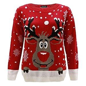 ZEE FASHION Frauen GESTRICKTE Rudolf Rentiere Ladies Xmas Christmas Pullover TOP NEUHEIT
