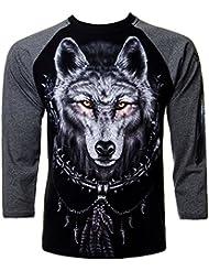 Spiral Direct Wolf Dream T Shirt Manches Longues Impirmé Loup (Noir)