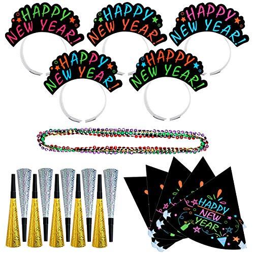 Amosfun Jahr Party Decor Kits Große Geschenkpackungen 10 stücke Hörner 5 stücke Stirnband 5 stücke Hüte 5 stücke Halsketten