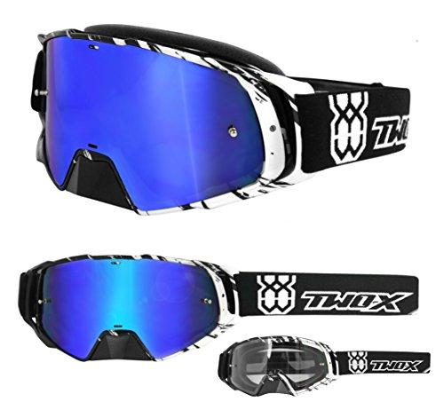 TWO-X Rocket Crossbrille Crush schwarz weiss Glas verspiegelt blau MX Brille Nasenschutz Motocross Enduro Spiegelglas Motorradbrille Anti Scratch MX Schutzbrille Nose Guard
