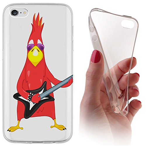 iPhone 4 / 4s Softcase Hülle Aplle iPhone 4s Cover Backkover Softcase TPU Hülle Slim Case für Apple iPhone 4 / 4s (1009 Vogel Bird rot mit Gitarre Cool Rock Angry)