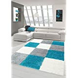 Lanuda alfombra lanuda largo pelo de la alfombra alfombra de la sala con dibujos en Karo Diseño Turquesa Gris Crema Größe 160x230 cm