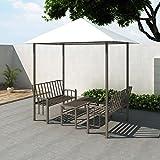 Festnight Pavillon Gartenpavillon mit Tisch und Bänken 2,5 x 1,5 x 2,4 m