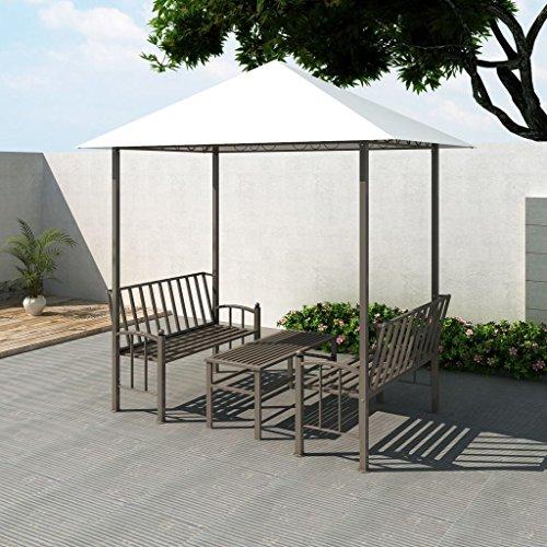 Festnight Pavillon de Jardin Luxe avec Table et Bancs Blanc