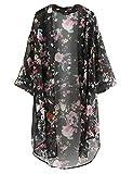 Yidarton Women's 3/4 Sleeve Floral Printed Chiffon Kimono Cardigan Tops Blouse,Black