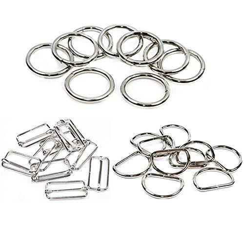 PPX 60 Stücke D- Ringe und O-Ring und Dia-Schnalle Metall Tri-Glide Dias Silbrige Dia-Schnalle Rechteck einstellbar Gurtband Slider für Verschlüsse, Gurt, Rucksack DIY Zubehör -