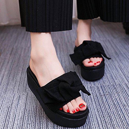 Longra Donna Piattaforma impermeabile Bowknot con pantofole spesse Nero