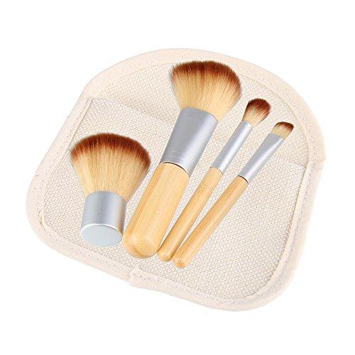 Beauty7 Kit de 4 Brosse Pinceaux Fondation En Bois Maquillage Cosmétique Professionnelle Trousse Make Up Set