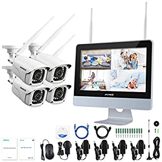 ANNKE Überwachungskamera System 4CH 1080P 12 Zoll drahtloses NVR WiFi-Kamera-System mit Monitor und 4 x 1080P WLAN-IP Netzwerkkamera für Innen und Außen(ohne Festplatte)