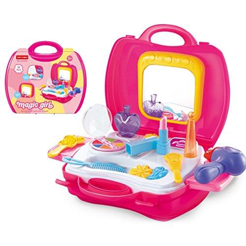n Spielen Make-up Kosmetikkoffer mit Spiegel Kosmetik-Spielzeug-Set vorgeben Beauty Dress-up Salon Haartrockner Koffer für kleine Mädchen Kleinkinder 1 Satz von 19 Pcs ()