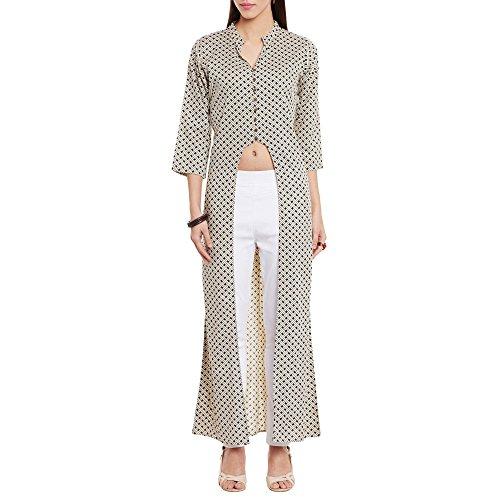 Frauen Baumwolle U Schnittlinie gedruckten lange Kurta V Neck, groß, Beige (V-neck-kurta)