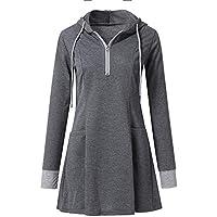 Hanomes Damen pullover, Frauen Langarm Zip Up Hoodies Sweatshirt Pullover Sport Tunika Bluse Top preisvergleich bei billige-tabletten.eu