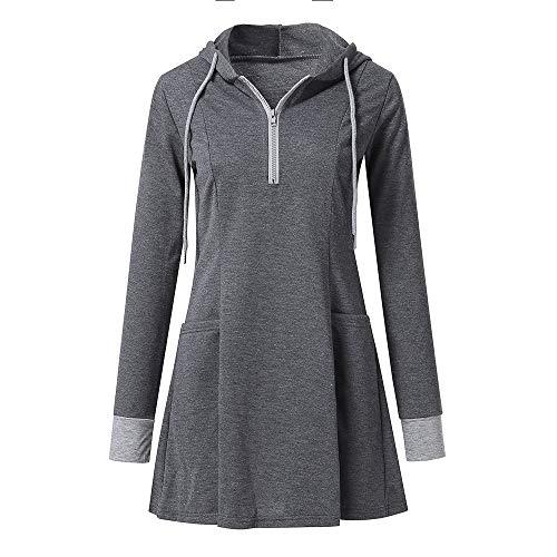 MEIbax Damen Langarm Reißverschluss Hoodies Sweatshirt Pullover Sport Tunika Lange Bluse Casual Top