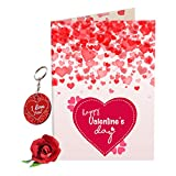 #4: Sky Trends Valentine Gift For Hubby Lovely Greeting Card Keychain With Artificial Rose Best Gift For Husband