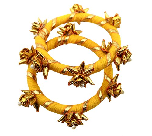 BLENT#63 Mango Yellow Gota Patti Flower Jewellery Bangle Set for Women/Kids/Girls/Bride/Bridal/Wedding/Haldi/Mehandi (Handmade...