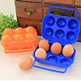 Ruon Deals™ Stylish Foldable Camping Picnic Carry 6 Eggs Container Holder Case Box New 1Pc Random Colour