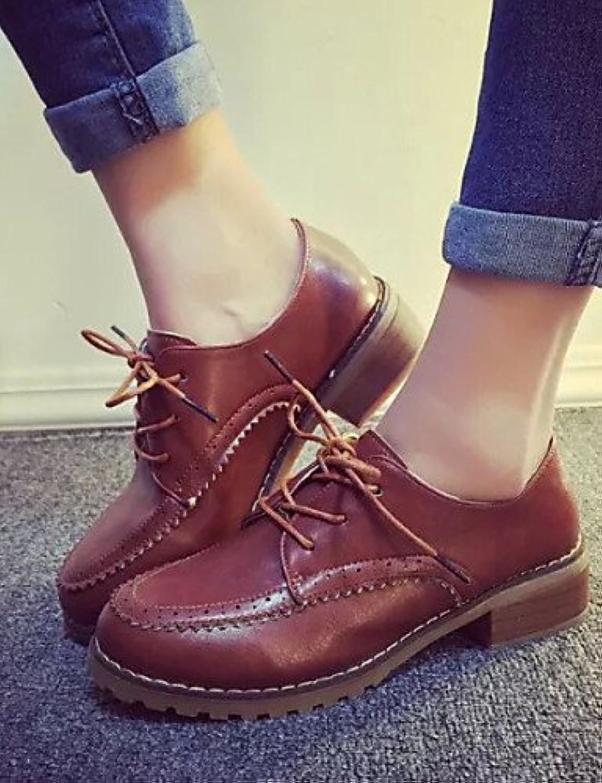 ZQ Zapatos de mujer - Tacón Bajo - Comfort - Oxfords - Exterior / Vestido - Semicuero - Negro / Marrón / Gris...