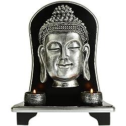 Portavelas con la cabeza de Buda supergrande de 32cm, color plateado + 2 velas pequeñas