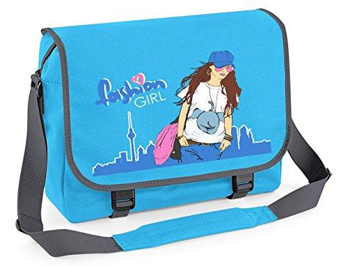 Borsa a tracolla Zainetto Borsa studente borsa a tracolla - studenti della scuola/Moda Ragazza - Fucsia Grafite Grigio Surf Blue Grafite Grigio