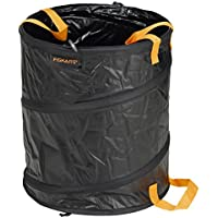 Fiskars Solid PopUp Garden Bag with handles, Capacity: 56 Litre, Black/Orange, 1015646