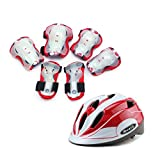 WX xin Ellbogenschützer Armschienen Knieschoner Helm Sport Sicherheit Schutzausrüstung Kinder Skateboard Fahrrad Fahren 7 Stück/Sätze (Farbe : Rot, größe : S)