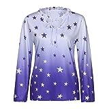 ◑‿◑ JUSTSELL Langarmshirt T Shirt Herbst,Damen Frauen Pentagramm Drucken Pullover Roll-up Oberteile V-Ausschnitt Bluse Casual Tops Damentops Shirt (S-5XL)