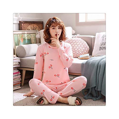2019 Pyjama Women Pajamas Sets Spring Summer Long Sleeve Thin Print Cute Sleepwear Big Girl Pijamas Mujer Leisure Student Pajama yingtao Fen S