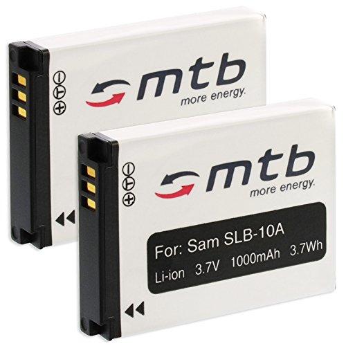 2x Akku SLB-10A für Samsung ES50, ES55... / JVC Adixxion / Toshiba X-Sports / Silvercrest + weitere... (s. Liste) (Slb-10a Akku)