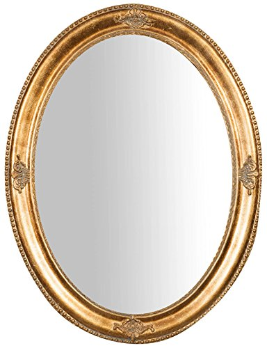 Specchio Specchiera da Parete con Cornice Ovale in Legno 64x3x84 cm Finitura Oro Anticato da Appendere Verticale/Orizzontale