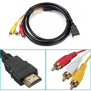 R43 150cm Videokabel HDMI Stecker Auf 3 RCA Stecker RGB Audio Video AV Kabel TV, Plug und Play, Kabellänge 150cm, Farbe Schwarz