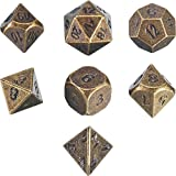 Frienda Znalloy Metal Polyhedral 7-Die Dice Set for Dungeons and Dragons RPG Dice Gaming D&D Math Teaching, d20, d12, 2 Pieces d10 (00-90 and 0-9), d8, d6 and d4 (Ancient Bronze)