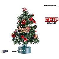 PEARL LED Tannenbaum: USB-Weihnachtsbaum mit LED-Farbwechsel-Glasfaserlichtern (Mini Weihnachtsbaum)