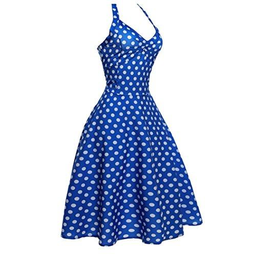 TEBAISE Sommer Neue Art-Frauen-Feiertags-Weinlese Bodycon Sleeveless Halter-Tanz-Club-Abend-Partei-Dünner Abschlussball-Schwingen-Kleid-Schicht-Rock(Blau,EU-42/CN-XL)