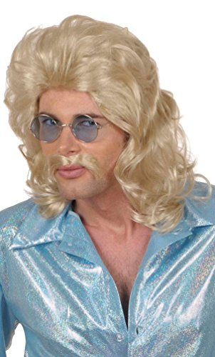 Karneval Klamotten Kostüm Perücke und Schnurrbart 70er Jahre blond Zubehör Fasching (70er Jahre Schnurrbart Kostüm)