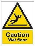 vsafety 63003an-r Caution Wet Floor Achtung Allgemeine Zeichen, starrer Kunststoff, Hochformat, 150mm x 200mm x 200mm, schwarz/gelb