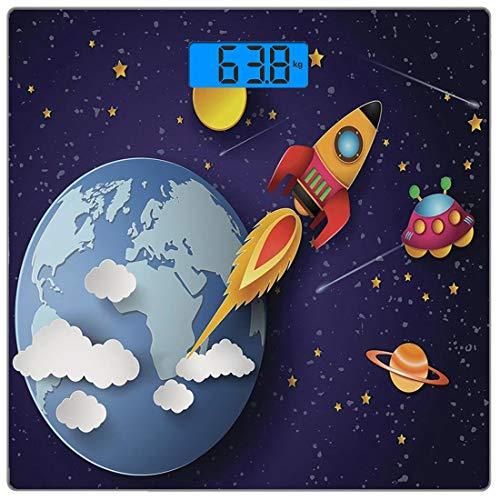 Digitale Präzisionswaage für das Körpergewicht Platz Weltraum Ultra dünne ausgeglichenes Glas-Badezimmerwaage-genaue Gewichts-Maße,Rakete auf Planetensystem mit Erde Sternen Ufo Saturn Sun Galaxy Boys