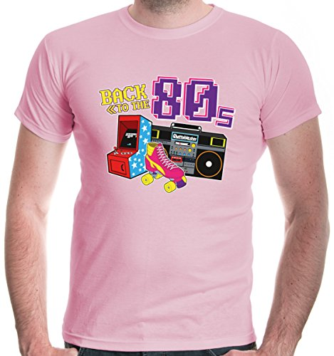 buXsbaum Herren T-Shirt Back to The 80s | 80er Oldschool Party Disco | L, Rosa