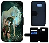 Flip Cover Schutz Hülle Handy Tasche Etui Case für (Samsung Galaxy S6 G920, 1488 Einhorn Frau Mädchen Fantasy Pferd)