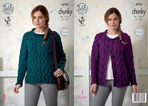 King Cole 4722 Knitting Pattern Womens Cabled Raglan Sweater and Cardigan in King Cole Chunky by King Cole (Cabled Cardigan)