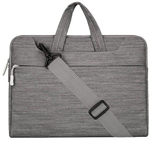MOSISO - Tela Vaquera Funda Bolso de Bandolera Maletín Bolso Sleeve para 12.9 iPad Pro y 13.3 Pulgadas Ordenador Portátil / Tablet PC / Notebook / MacBook Pro / MacBook Air, Gris