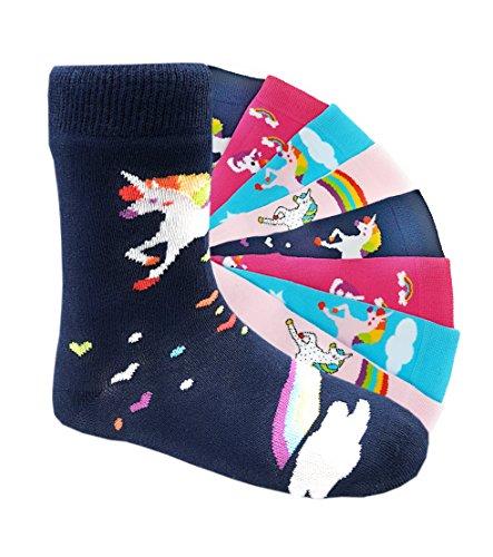 Kinder Socken handgekettelt Spitze ohne Naht 6 Paar aus besonders weicher Baumwolle bunter Mix Gr. 19-42 (27-30, Einhorn) (Kinder Winter Socken)