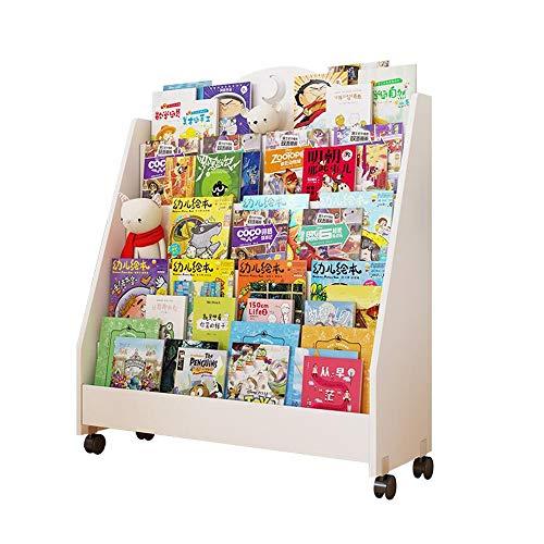Jcnfa-Estante Revistero Móvil para Niños Madera Maciza Librero con Polea Diseño Trapezoidal Montaje De Bricolaje (Color : Blanco, Tamaño : 31.49 * 11.81 * 37.59in)