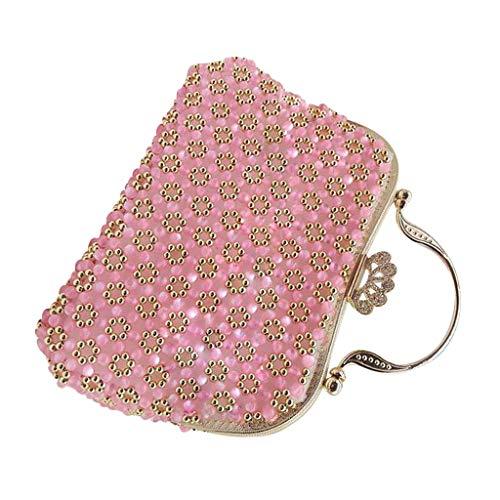 Baoblaze DIY Bastelset Handgemacht Damen Perlen Tasche Abendtasche Handasche Brauttasche Hochzeit, mit Metall Taschverschluss - Rosa -