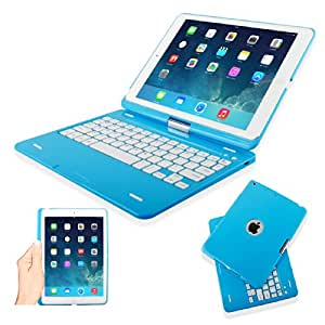 Kamor® Apple iPad Air Keyboard Case High Quality Cover with Ultra Slim Bluetooth Keyboard for iPad Air (iPad 5 5Gen 5 Generation) with 360 Degree Rotating Feature and Multiple Viewing Angles, Folio Style with IOS Commands - Blue