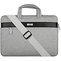 MOSISO spalla del computer portatile della cartella del sacchetto, in poliestere manica caso della copertura con borsa striscia PU orizzontale per 13-13.3 pollici MacBook notebook, grigio